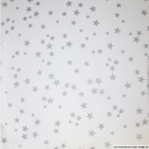 Tissu Piqué de coton imprimé étoiles argents