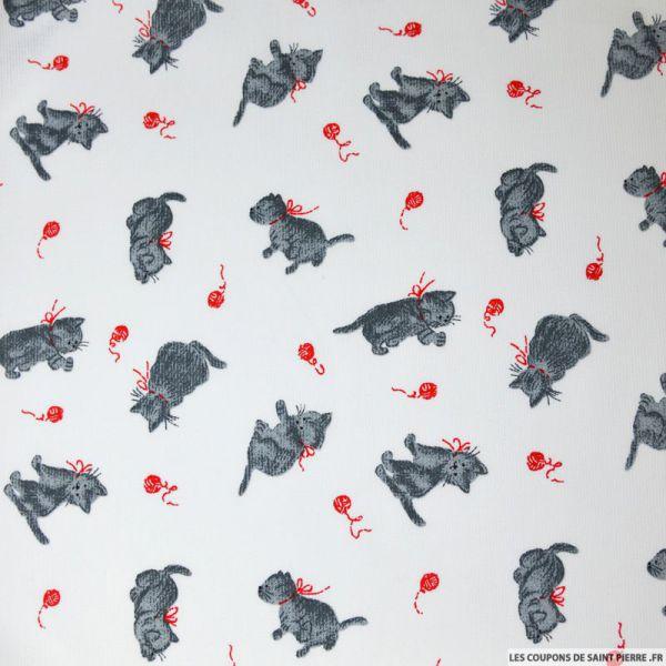 Tissu Piqué de coton imprimé chat gris et pelote rouge