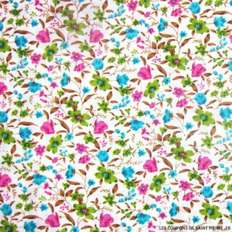 Tissu Coton imprimé bouquet de fleurs vert, rose et bleu fond Blanc