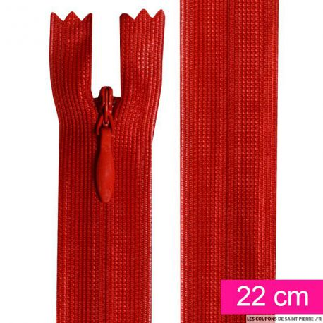 Fermeture invisible de 22 cm rouge