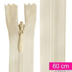 Fermeture invisible de 60 cm écru