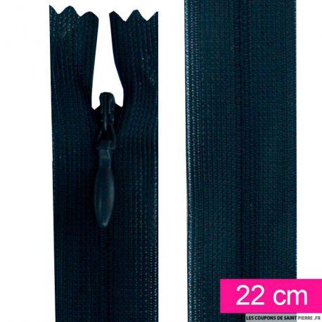 Fermeture invisible de 22 cm bleu nuit