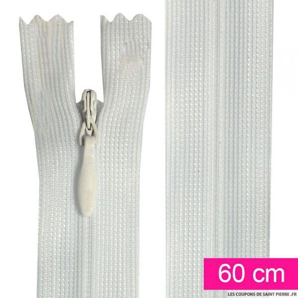 Fermeture invisible de 60 cm blanc