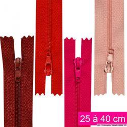 Fermeture nylon non-séparable de 25 à 40 cm beaujolais, fuschia,rouge et rose
