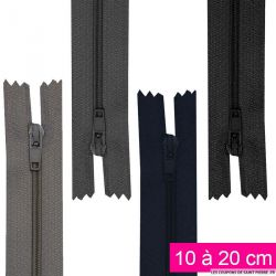 Fermeture nylon non-séparable de 10 à 20 cm gris, bleu nuit et noir