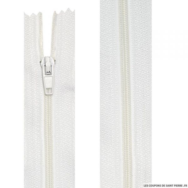 Fermeture nylon non-séparable de 10 à 20 cm blanc beige et écru