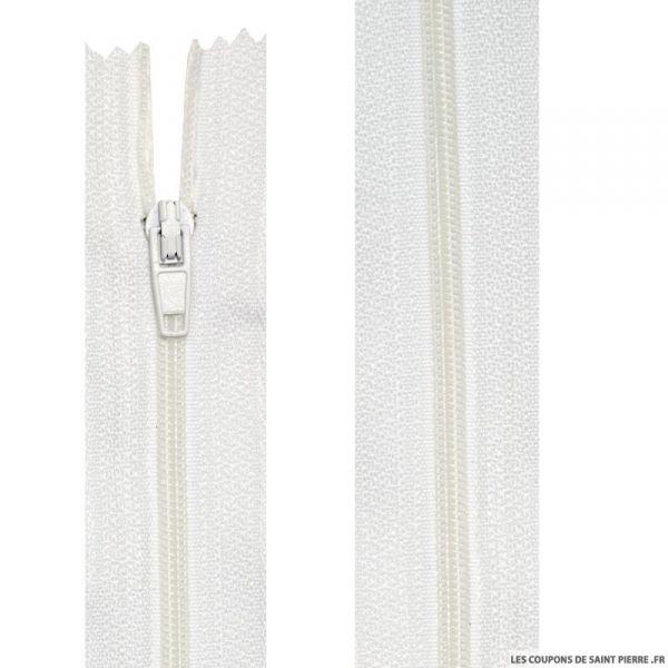 Fermeture nylon non-séparable de 45 à 60 cm blanc beige et écru