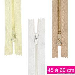 Fermeture nylon non-séparable de 25 à 40 cm blanc beige et écru