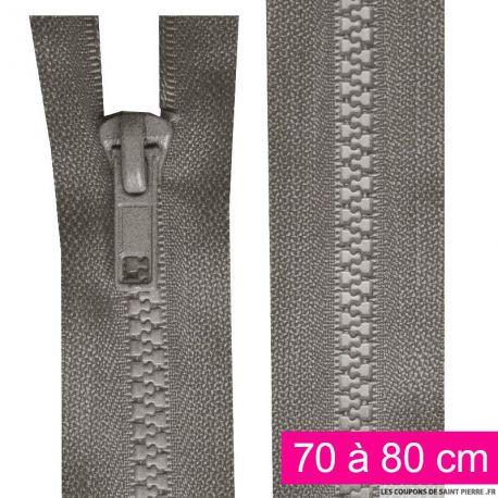 Fermeture injectée n°5 séparable de 70 à 80 cm gris
