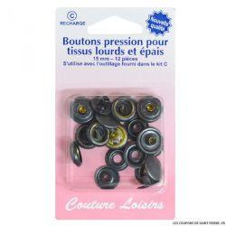 Recharge boutons pression pour tissus lourds et épais -Noir-