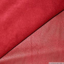 Tissu Suédine aspect cuir rouge double face