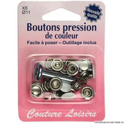 Boutons pressions 11 mm et outillage Blanc