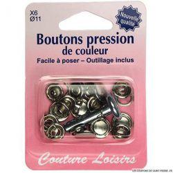 Boutons pressions 11 mm et outillage Argent