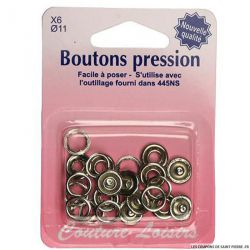 Boutons pressions 11 mm - Argent