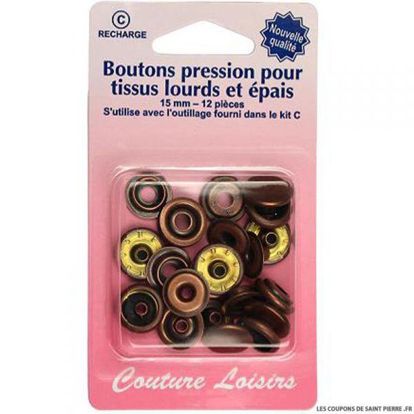 Recharge boutons pression pour tissus lourds et épais- Bronze