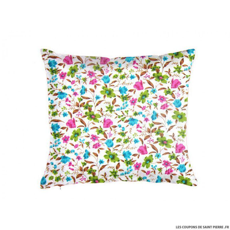 Tissu coton imprim bouquet de fleurs vert rose et bleu for Bouquet de fleurs vert et blanc