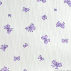 Tissus Piqué de coton imprimé noeuds couleur parme