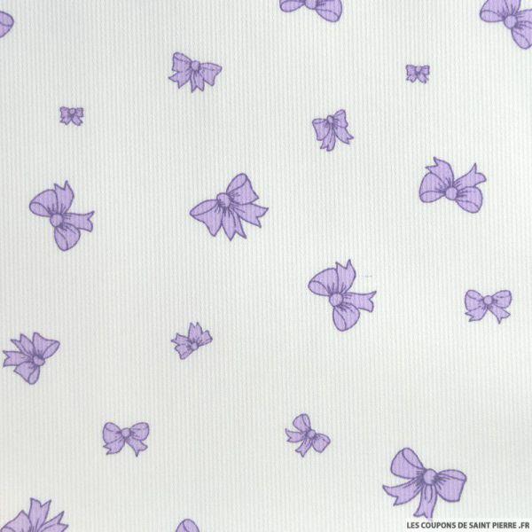 Tissu en piqué de coton imprimé étoiles gris et fushia