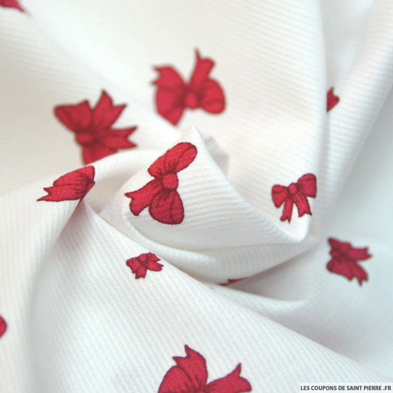 Tissu En Piqu De Coton Imprim Noeuds Couleur Framboise