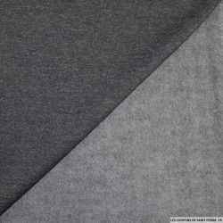 Tissu sweat chiné minkee gris anthracite