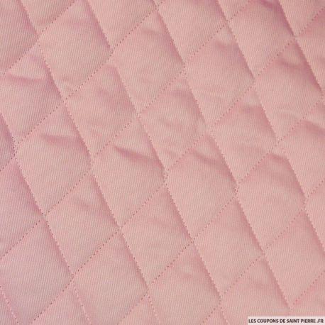 Tissu Piqué de coton matelassé rose au mètre