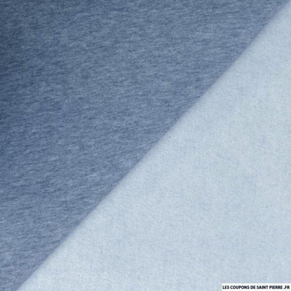 Tissu sweat chiné minkee bleu jean's