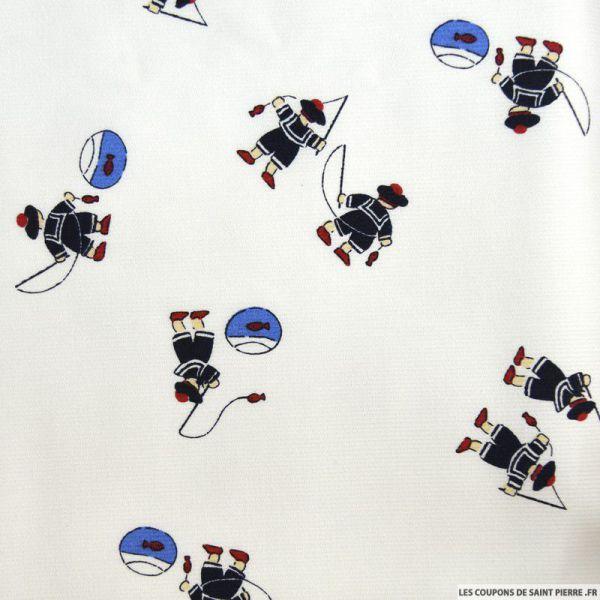 Tissu Piqué de coton imprimé petits marins