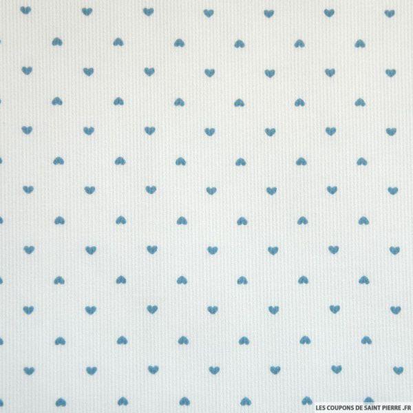 Tissu Piqué de coton imprimé petit coeur ciel