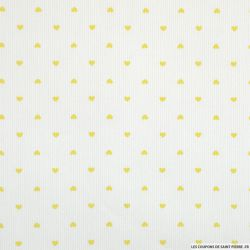 Tissus Piqué de coton imprimé petits coeurs jaunes