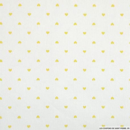 Tissu Piqué de coton imprimé petits coeurs jaunes