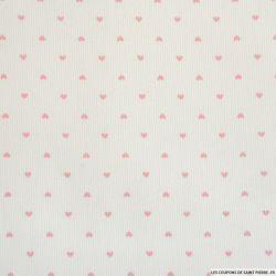 Piqué de coton imprimé petits coeurs roses