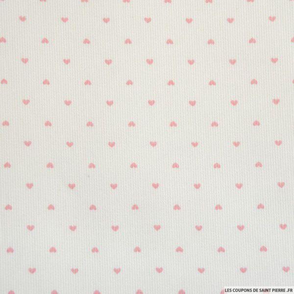 Tissu Piqué de coton imprimé petits coeurs roses