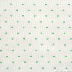 Piqué de coton imprimé petits coeurs verts
