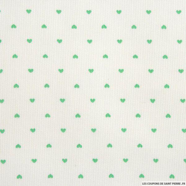 Tissu Piqué de coton imprimé petits coeurs verts