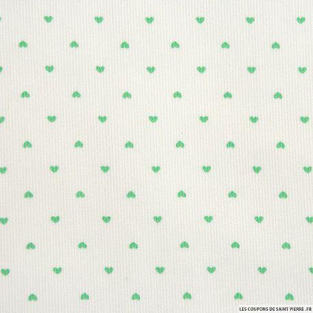 LE COUPON DE 3 METRES imprimé petit coeur vert
