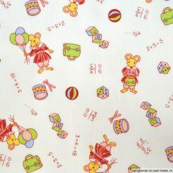 Tissu Piqué de coton imprimé souris rouge