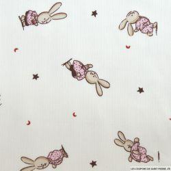 Tissus Piqué de coton imprimé petit lapin rose