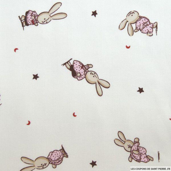 Tissu Piqué de coton imprimé petit lapin rose
