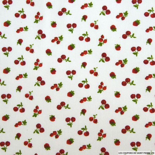 Tissu Piqué de coton imprimé cerises