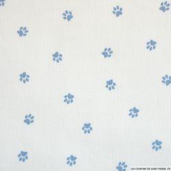 Tissus Piqué de coton imprimé pattes de chien bleues sur fond blanc