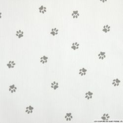 Tissus Piqué de coton imprimé pattes de chien grises sur fond blanc