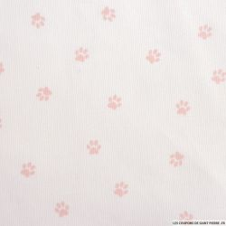Tissus Piqué de coton imprimé pattes de chien roses sur fond blanc