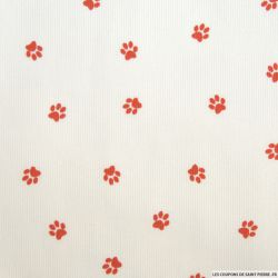 Tissus Piqué de coton imprimé pattes de chien rouges sur fond blanc