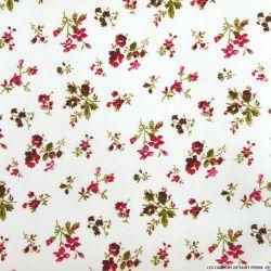 Tissus Piqué de coton imprimé fleurs rouges