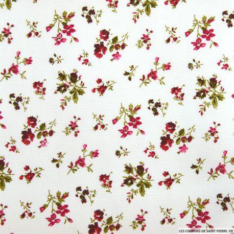 Tissu Piqué de coton imprimé fleurs rouges