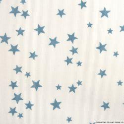Tissu Piqué de coton imprimé étoiles bleues