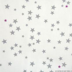 Tissus Piqué de coton imprimé étoiles grises et fuchsias
