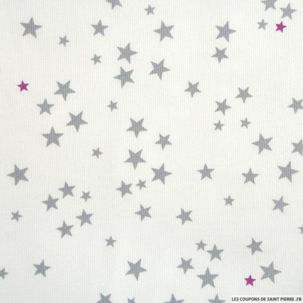Tissu Piqué de coton imprimé étoiles grises et fuchsias