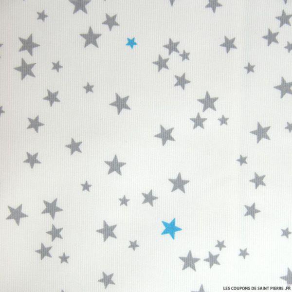 Tissu Piqué de coton imprimé étoiles grises et turquoises