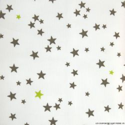 Tissu Piqué de coton imprimé étoiles taupes et vert anis